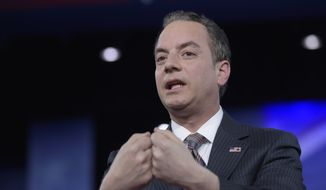 In this Feb. 23, 2017, file photo, White House Chief of Staff Reince Priebus speaks in Oxon Hill, Md. (AP Photo/Susan Walsh, File)