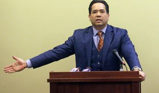 This Thursday, Feb. 23, 2017, photo, Utah Attorney General Sean Reyes speaks during a news conference at the Utah State Capitol, in Salt Lake City. Reyes is highlighting his work targeting human trafficking and child sexual exploitation cases, but he's declining to provide details about recent cases. The Deseret News reports that Reyes and officials from 25 agencies held the news conference to announce 16 arrests have been made since Jan. 1. (AP Photo/Rick Bowmer)
