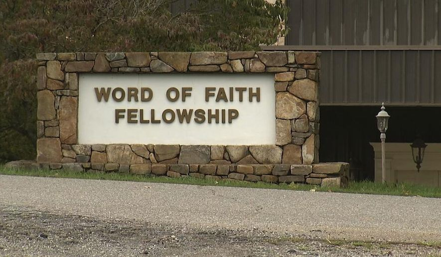 ADVANCE FOR USE MONDAY, FEB. 27, 2017 AT 1 A.M. EDT AND THEREAFTER-This 2016 image from video shows the entrance to the Word of Faith Fellowship church in Spindale, N.C. Newcomers to the Word of Faith Fellowship live by a list of strict rules for daily life, which sect leader Jane Whaley says God revealed to her, former members say. (AP Photo/Alex Sanz)
