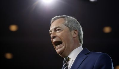 Nigel Farage, then-leader of the United Kingdom's Independence Party, speaks at the Conservative Political Action Conference (CPAC), Friday, Feb. 24, 2017, in Oxon Hill, Md. (AP Photo/Alex Brandon) ** FILE **