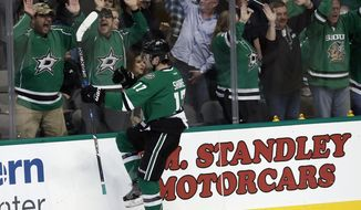 Dallas Stars' Devin Shore (17) celebrates after scoring against the Arizona Coyotes during the first period of an NHL hockey game, Friday, Feb. 24, 2017, in Dallas. (AP Photo/Mike Stone)