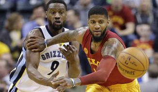 Indiana Pacers' Paul George and Memphis Grizzlies' Tony Allen go for a loose ball during the first half of an NBA basketball game Friday, Feb. 24, 2017, in Indianapolis. (AP Photo/Darron Cummings)