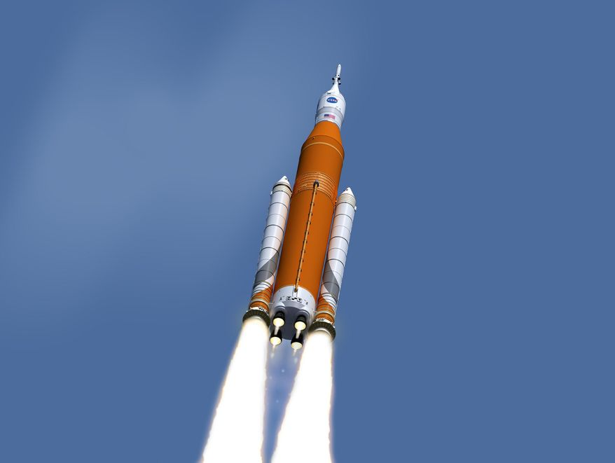 This image made available on Feb. 15, 2017 by NASA shows an artist's concept of the launch of the Space Launch System rocket and Orion capsule. On Friday, Feb. 24, 2017, NASA said it is weighing the risk of adding astronauts to the first flight of its new megarocket. (NASA/Marshall Space Flight Center via AP)