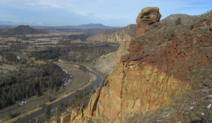 This undated photo shows Misery Ridge in Oregon's Smith Rock State Park. The Misery Ridge Trail starts just across the footbridge that spans the Crooked River in the main area of the park. (The Bulletin via AP)
