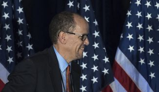 Former Labor Secretary Tom Perez, who is a candidate to run the Democratic National Committee, before speaking during the general session of the DNC winter meeting in Atlanta, Saturday, Feb. 25, 2017. (AP Photo/Branden Camp)