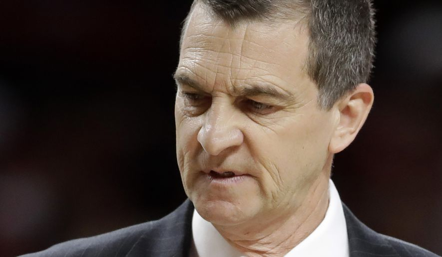 Maryland coach Mark Turgeon stands on the court during a timeout in the first half of an NCAA college basketball game against Iowa, Saturday, Feb. 25, 2017, in College Park, Md. Iowa won 83-69. (AP Photo/Patrick Semansky)