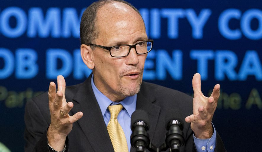 In this Sept. 29, 2014 file photo, then-Labor Secretary Tom Perez speaks in the South Court Auditorium in the White House compound in Washington. (AP Photo/Manuel Balce Ceneta, File)