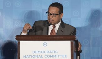 Rep. Keith Ellison, D-Minn., speaks during the general session of the DNC winter meeting in Atlanta, Saturday, Feb. 25, 2017. (AP Photo/Branden Camp) ** FILE **