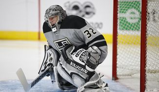 Los Angeles Kings goalie Jonathan Quick guards his net during the first period of an NHL hockey game against the Anaheim Ducks Saturday, Feb. 25, 2017, in Los Angeles. (AP Photo/Jae C. Hong)
