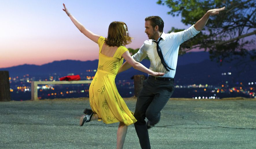 "This image released by Lionsgate shows Ryan Gosling, right, and Emma Stone in a scene from, ""La La Land."" The film is nominated for an Oscar for best picture. The 89th Academy Awards will take place on Feb. 26. (Dale Robinette/Lionsgate via AP)"