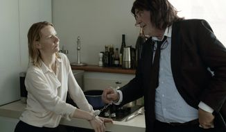 """This image released by Sony Pictures Classics shows Sandra Huller as Ines, left, and and Peter Simonischek as Winfried in a scene from the Komplizen Film, """"Toni Erdmann."""" The film is nominated for an Oscar for best foreign language film. The 89th Academy Awards will take place on Feb. 26, 2017. (Sony Pictures Classics via AP)"""