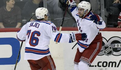New York Rangers' Mika Zibanejad, right, celebrates his overtime goal with Brady Skjei during an NHL hockey game against the New Jersey Devils, Saturday, Feb. 25, 2017, in Newark, N.J. (AP Photo/Bill Kostroun)