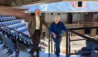 This Nov. 23, 2016, photo, Fred Adams, right, founder of the Utah Shakespeare Festival, and Scott Phillips, his first full time hire in 1977 who went on to become executive director of the festival, pose for a photo at the Utah Shakespeare Festival Headquarters in Cedar City, Utah. On the swiftly approaching first day of March, Phillips will step down as executive director of the Utah Shakespeare Festival exactly 40 years to the day from when he was hired. (Lee Benson/The Deseret News via AP)