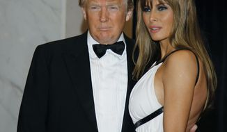 "In this April 30, 2011, file photo Donald Trump, left, and Melania Trump arrive for the White House Correspondents Dinner in Washington. President Donald Trump says he won't be attending the annual White House Correspondents' Association dinner this spring. In a tweet on Saturday, Feb. 25, 2017, the president doesn't give a reason but says he wishes ""everyone well and have a great evening!"" The annual fundraiser for college scholarships mixes politicians, journalists and celebrities. (AP Photo/Alex Brandon, File) **FILE**"