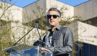 "Reza Aslan speaks at the UTA ""United Voices"" Rally at United Talent Agency headquarters on Friday, Feb. 24, 2017, in Beverly Hills, Calif. As most of Hollywood gears up for the Oscars on Sunday and the whirlwind of events and parties this weekend, celebrities and top talent agents gathered in Beverly Hills Friday to do something to do something a little different: rally for immigration rights. (Photo by Willy Sanjuan/Invision/AP)"