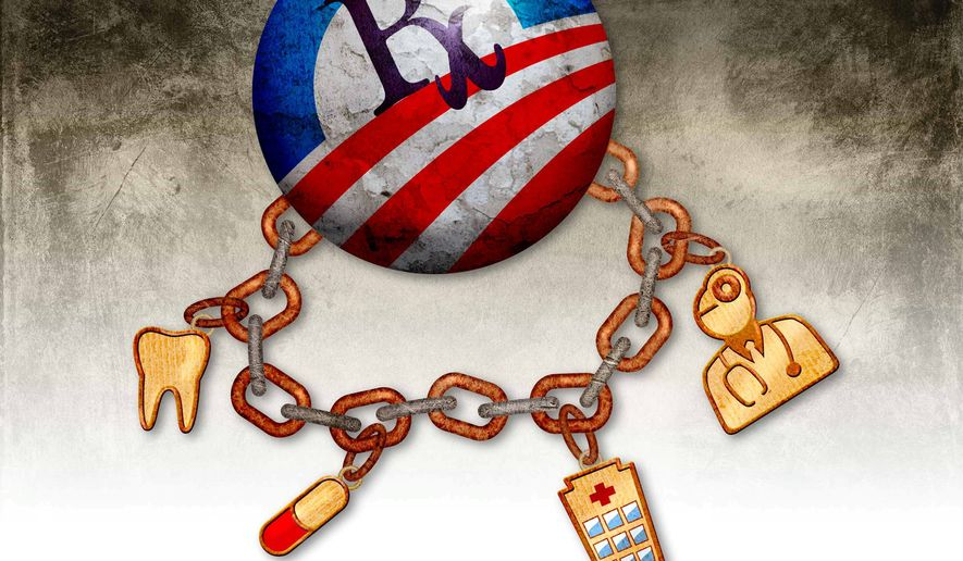 Healthcare Industry Dependence on Obamacare Finances Illustration by Greg Groesch/The Washington Times