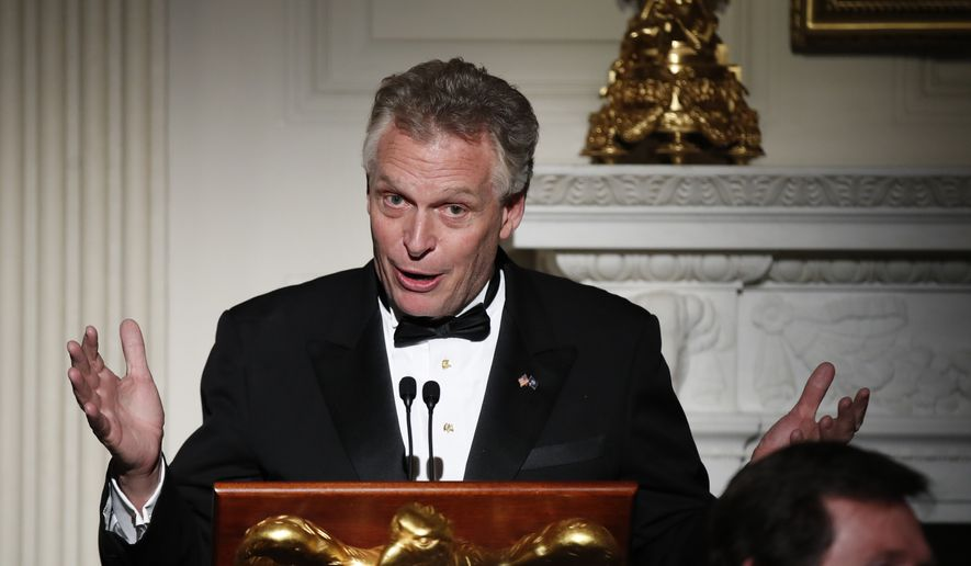 National Governors Association Chair Virginia Gov. Terry McAuliffe speaks at a dinner reception for the governors during the annual National Governors Association winter meeting Sunday, Feb. 26, 2017, at the State Dining Room of the White House in Washington. (AP Photo/Manuel Balce Ceneta)