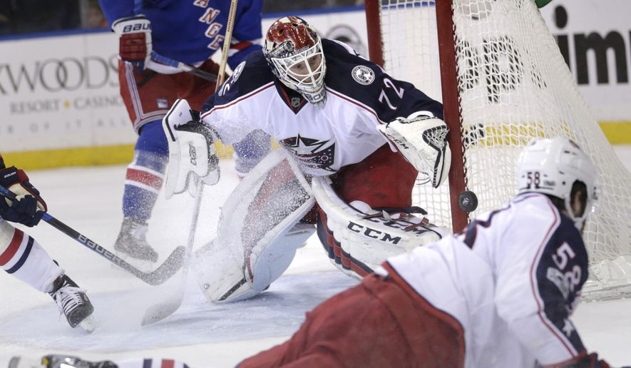 Columbus Blue Jackets goalie Sergei Bobrovsky (72) defends the goal during the second period of the NHL hockey game against the New York Rangers, Sunday, Feb. 26, 2017, in New York. (AP Photo/Seth Wenig)