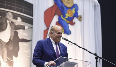 Former Pennsylvania Gov. Ed Rendell speaks during the memorial service for Albert Boscov at the Santander Arena, Sunday, Feb. 26, 2017 in Reading, Pa.  Late department store chairman Albert Boscov was remembered as an energetic businessman, a caring person and a tireless cheerleader for the city he loved.Hundreds gathered Sunday at a Reading arena to honor Boscov, who died Feb. 10 at age 87, and who was credited with driving the growth of the century-old business established by his father to sales in excess of $1 billion. (Lauren A. Little/Reading Eagle via AP)