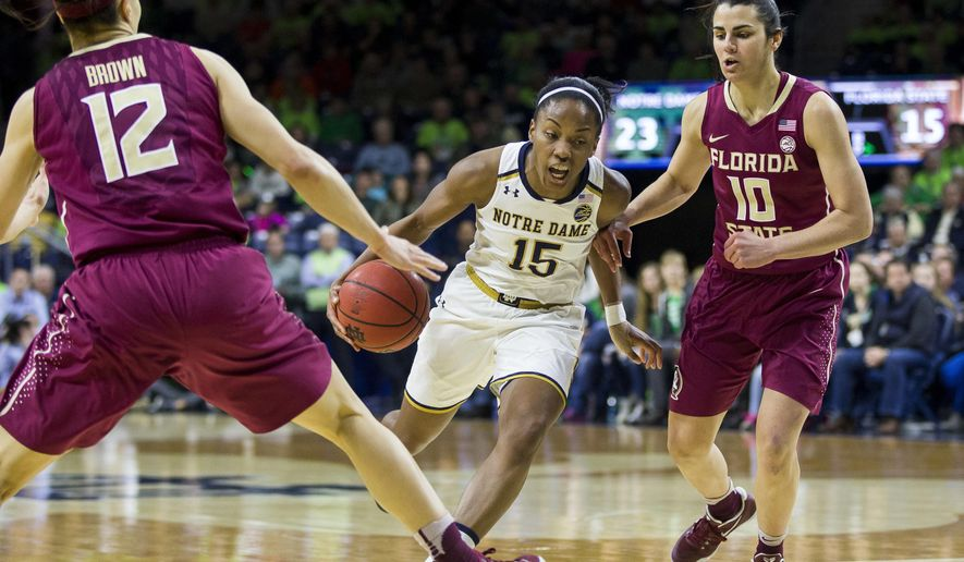 Notre Dame's Lindsay Allen (15) drives between Florida State's Brittany Brown (12) and Leticia Romero (10) during the first half of an NCAA college basketball game Sunday, Feb. 26, 2017, in South Bend, Ind. (AP Photo/Robert Franklin)
