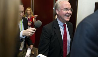 Health and Human Services Secretary Tom Price is followed by reporters as he leaves a health care meeting during the National Governors Association Winter Meeting in Washington, Saturday, Feb. 25, 2017. (AP Photo/Cliff Owen)
