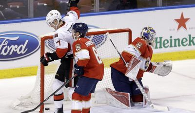 Ottawa Senators center Kyle Turris (7) celebrates after scoring against the Florida Panthers in the second period of an NHL hockey game, Sunday, Feb. 26, 2017, in Sunrise, Fla. (AP Photo/Alan Diaz)