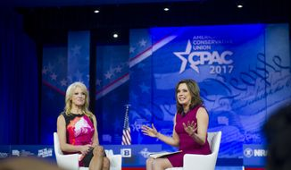 Counselor to President Donald Trump Kellyanne Conway (left) is interviewed by then-Washington Times columnist Mercedes Schlapp (right) on the second day of the American Conservative Union CPAC 2017 at the Gaylord National Resort and Convention Center in National Harbor, Md., Thursday, February 23, 2017. (Photo Rod Lamkey Jr.) ** FILE **