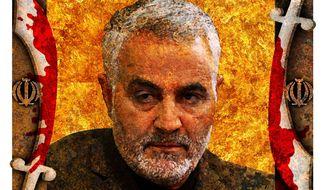Illustration of Qassem Suleymani by Alexander Hunter/The Washington Times