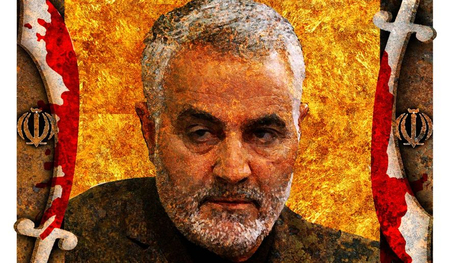 Illustration of Qassem Suleymani by Alexander Hunter/The Washington Times