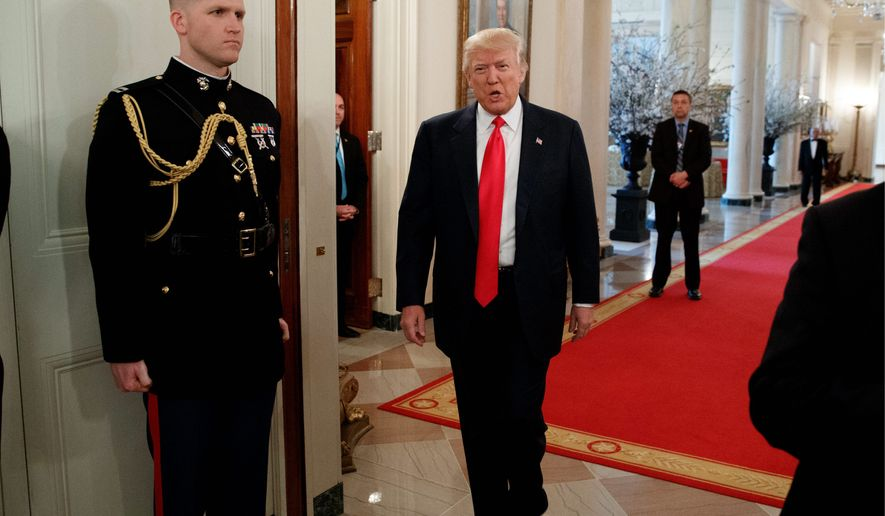 President Trump will deliver his first prime-time address to Congress on Tuesday, offering a budget that is heavy on national security. (Associated Press)