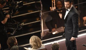 Host Jimmy Kimmel, right, stares at Matt Damon after Damon tripped him during a skit at the Oscars on Sunday, Feb. 26, 2017, at the Dolby Theatre in Los Angeles. (Photo by Chris Pizzello/Invision/AP)