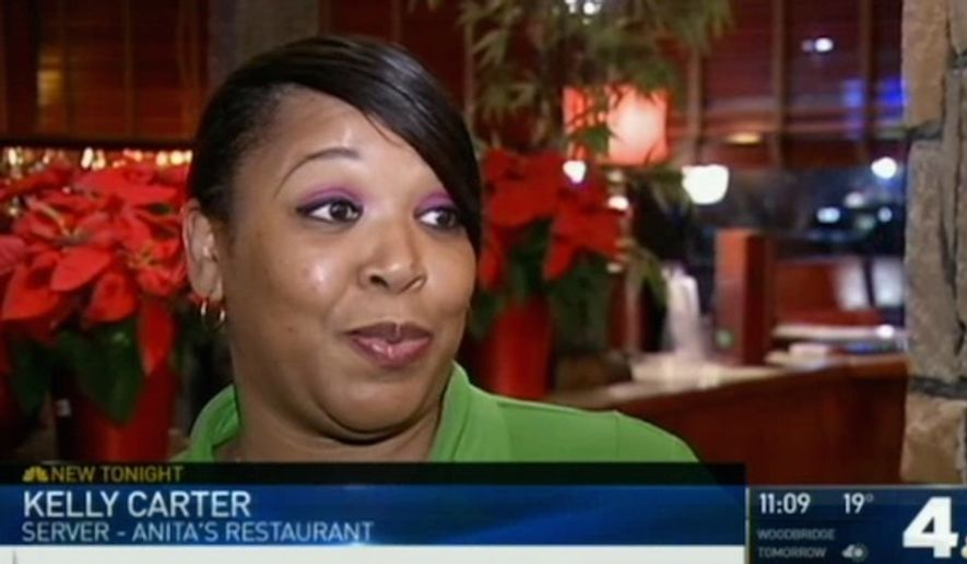 Waitress Kelly Carter of Anita's Ashburn, Virginia, claimed in January that a customer wrote a racist message on his bill. (NBC 4 Washington, D.C. screenshot)