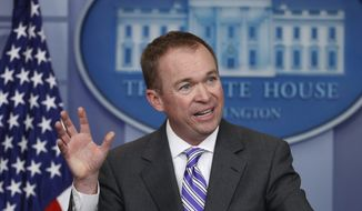 Budget Director Mick Mulvaney speaks to reporters during a daily press briefing at the White House in Washington, Monday, Feb. 27, 2017. (AP Photo/Manuel Balce Ceneta) ** FILE **