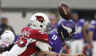 "FILE - In this Nov. 20, 2016, file photo, Arizona Cardinals outside linebacker Chandler Jones, left, hits Minnesota Vikings quarterback Sam Bradford as he tries to pass during the second half of an NFL football game, in Minneapolis. The Cardinals have placed a non-exclusive franchise tag on outside linebacker Chandler Jones after failing to reach a long-term deal with the player. The ""non-exclusive"" tag allows the Cardinals to continue negotiating with Jones through July 15. (AP Photo/Jim Mone, File)"