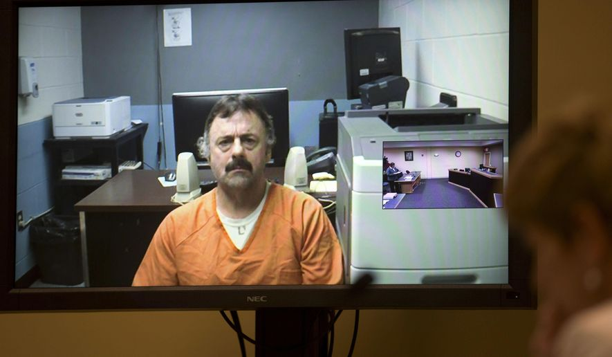 FILE - In this June 21, 2016 file photo, Wendell Noyes appears via a video arraignment from the county jail in Stewartstown, N.H., as prosecutor Jane Young, right, listens in district court in Berlin, N.H. Noyes was charged with second-degree murder in the death of his 11-year-old stepdaughter Celina Cass, who was reported missing from her home on July 26, 2011. A court in Lancaster ruled Monday, Feb. 27, 2017, that Noyes was not competent to stand trial in Cass' death and charges were dropped. (AP Photo/Jim Cole, Pool, File)
