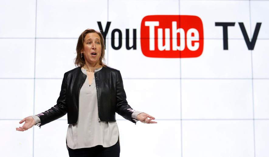 YouTube CEO Susan Wojicki speaks during the introduction of YouTube TV at YouTube Space LA in Los Angeles, Tuesday, Feb. 28, 2017. People fed up with paying for cable the traditional way will soon be able to subscribe to it from YouTube. The Google-owned site known for cat videos and do-it-yourself makeup tutorials is the latest company to offer a version of cable that looks and feels more like Netflix. (AP Photo/Reed Saxon)