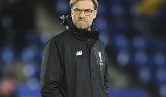 Liverpool manager Juergen Klopp looks on during the English Premier League soccer match between Leicester City and Liverpool at the King Power Stadium in Leicester, England, Monday, Feb. 27, 2017. (AP Photo/Rui Vieira)