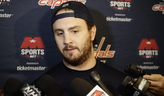 Washington Capitals' Kevin Shattenkirk responds to questions during a news conference before an NHL hockey game against the New York Rangers Tuesday, Feb. 28, 2017, in New York. (AP Photo/Frank Franklin II) **FILE**