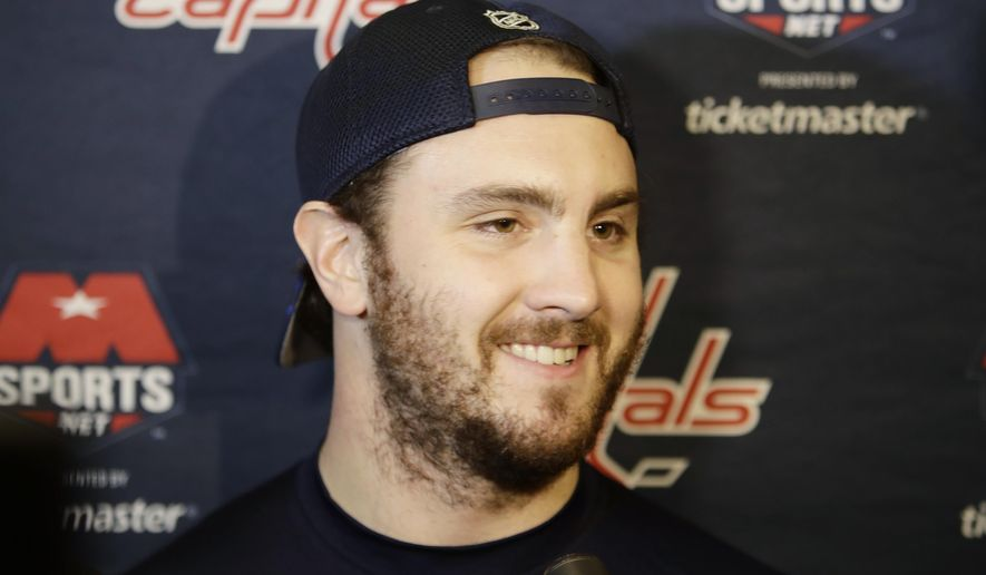 Washington Capitals' Kevin Shattenkirk responds to questions during a news conference before an NHL hockey game against the New York Rangers Tuesday, Feb. 28, 2017, in New York. (AP Photo/Frank Franklin II)