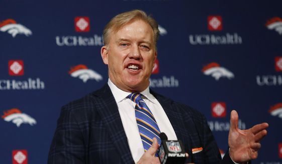 FILE- In this Jan. 12, 2017, file photo, Denver Broncos general manager John Elway responds to questions during a news conference at the team's headquarters in Englewood, Colo. (AP Photo/David Zalubowski, File) **FILE**