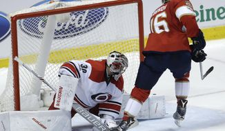Florida Panthers' Aleksander Barkov (16) scores against Carolina Hurricanes goalie Cam Ward (30) during the shootout in an NHL hockey game, Tuesday, Feb. 28, 2017, in Sunrise, Fla. The Panthers defeated the Hurricanes 3-2. (AP Photo/Lynne Sladky)