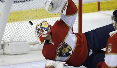 The puck gets past Florida Panthers goalie Roberto Luongo on a goal scored by Carolina Hurricanes' Lee Stempniak during the second period of an NHL hockey game, Tuesday, Feb. 28, 2017, in Sunrise, Fla. (AP Photo/Lynne Sladky)
