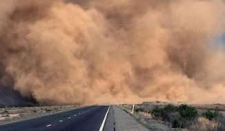 FILE--This Monday, May 16, 2016 file photo, shows a dust storm on Interstate 10 near San Simon, Ariz. Extremely windy conditions and blowing dust have for the third straight day shut down Interstate 10 in Arizona and New Mexico, stalling commerce and sending drivers on a long detour through a much smaller road. (Arizona Department of Public Safety via AP, file)