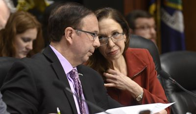 Sen. Joseph Griffo, R-Utica, left, speaks with Assemblywoman Amy Paulin, D-Scarsdale, during a joint legislative hearing on the the planned closing of the Indian Point Power Plant on Tuesday, Feb. 28, 2017, in Albany, N.Y. (AP Photo/Hans Pennink)