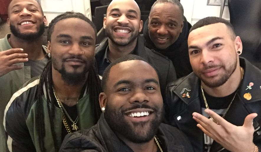 New Orleans Saints running back Mark Ingram, bottom center, with teammates, from a tweet he sent complaining about being denied entry to a burlesque club in London on Monday, Feb. 27. (Twitter: https://twitter.com/MarkIngram22/status/836383122308620288?ref_src=twsrc%5Etfw)