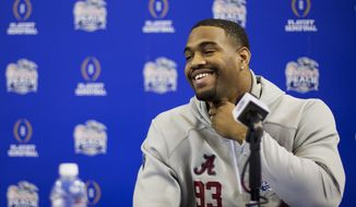 FILE - In this Dec. 29, 2016, file photo, Alabama's Jonathan Allen answers a question during media day for the Peach Bowl NCAA college football game against Washington, in Atlanta. Allen's NFL resume already includes awards, championship rings and four years of production at Alabama. Now, the former Crimson Tide defensive lineman is preparing to add his 40 time, vertical jump and other measurables at the scouting combine this week in Indianapolis.  (AP Photo/David Goldman, File)