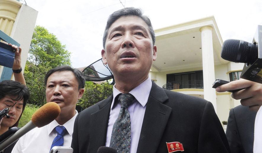 Ri Tong Il, former North Korean deputy ambassador to the United Nations, speaks to reporters outside the North Korean embassy in Kuala Lumpur, Malaysia, Tuesday, Feb. 28, 2017.  Ri told reporters Tuesday that North Korea has sent a high-level delegation to Malaysia to seek the return of the body of leader's Kim Jong Un's slain half brother and the release of a North Korean arrested in the case. (AP Photo)