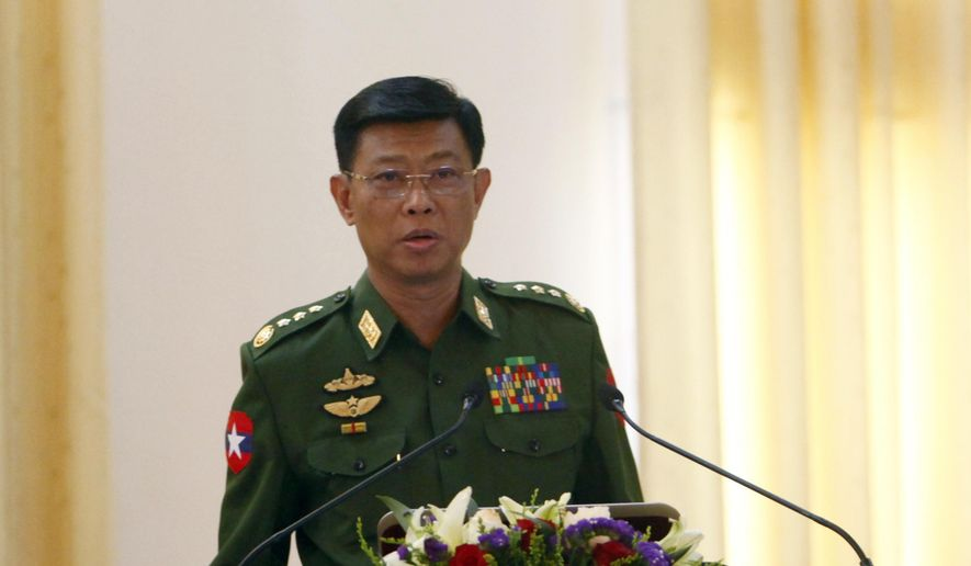 Myanmar's military spokesman Maj.-Gen. Myat Tun Oo speaks during a press conference at Defense Ministry in Naypyitaw, Myanmar, Tuesday, Feb. 28, 2017. (AP Photo/ Min Kyi Thein) ** FILE **