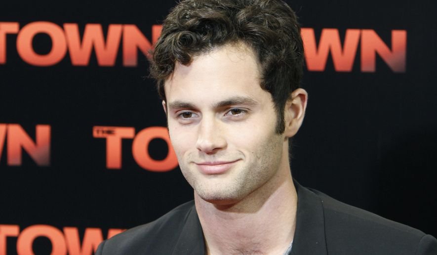 """FILE - In this Sept. 14, 2010, file photo, Penn Badgley poses at the premiere of the film """"The Town"""" at Fenway Park in Boston. Badgley married Domino Kirke at a New York City courthouse on February 28, 2017. (AP Photo/Michael Dwyer, File)"""