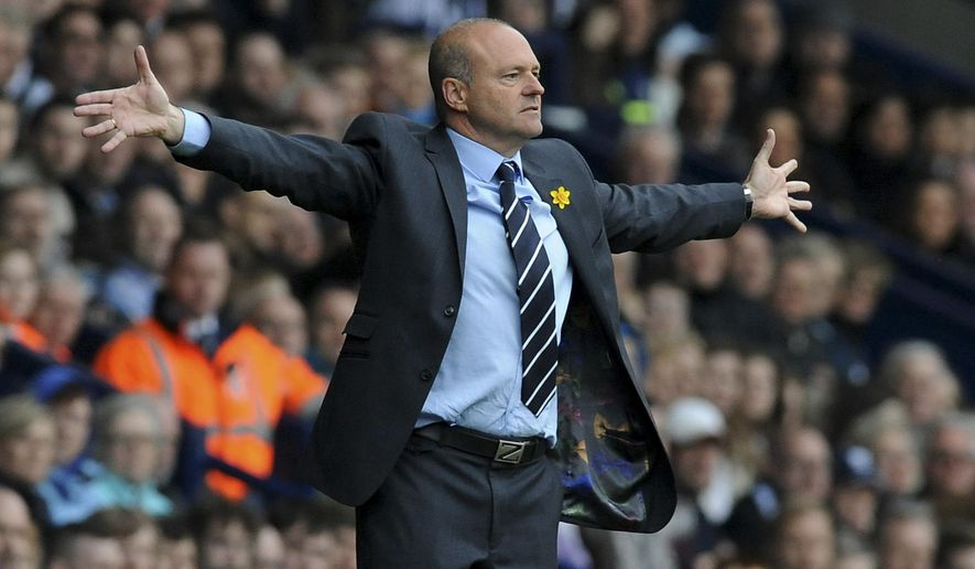 FILE - In this March 29 2014 file photo, West Bromwich manager Pepe Mel gestures during the English Premier League soccer match between West Bromwich Albion and Cardiff City at Hawthorns Stadium in West Bromwich, England. Deportivo La Coruna has hired former West Bromwich and Real Betis coach Pepe Mel to try to avoid relegation in the Spanish league, replacing Gaizka Garitano who was fired after the team's 4-0 loss at newcomer Leganes on Saturday, Feb. 25, 2017. (AP Photo/Rui Vieira, File)